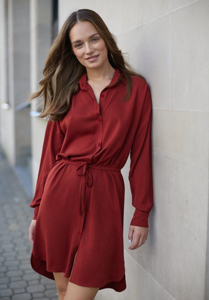 Sukienka na guziki Lisa miedziana- zdjęcie 3