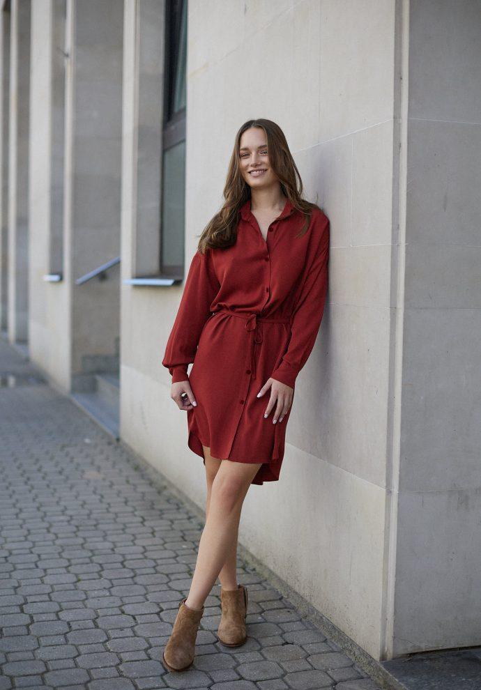 Sukienka na guziki Lisa miedziana- zdjęcie 4