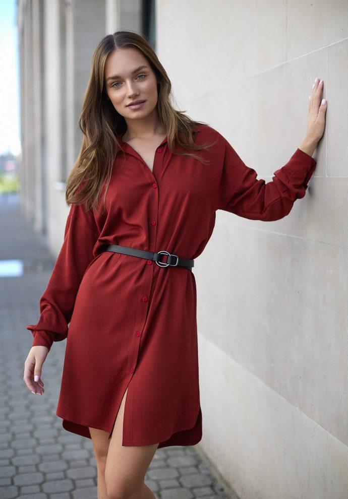 Sukienka na guziki Lisa miedziana- zdjęcie 5