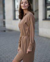 Sukienka na guziki Lisa kamelowa - zdjęcie 3