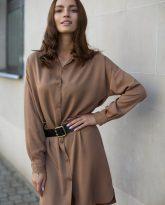 Sukienka na guziki Lisa kamelowa - zdjęcie 5