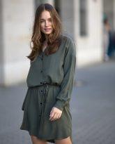 Sukienka na guziki Lisa oliwkowa- zdjecie 3