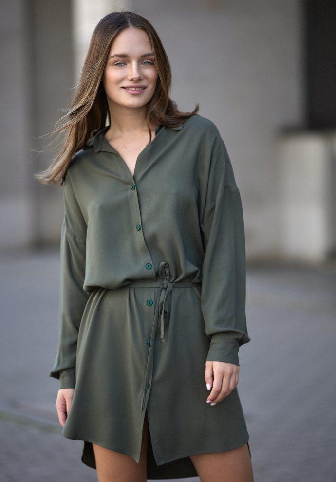 Sukienka na guziki Lisa oliwkowa- zdjecie 2