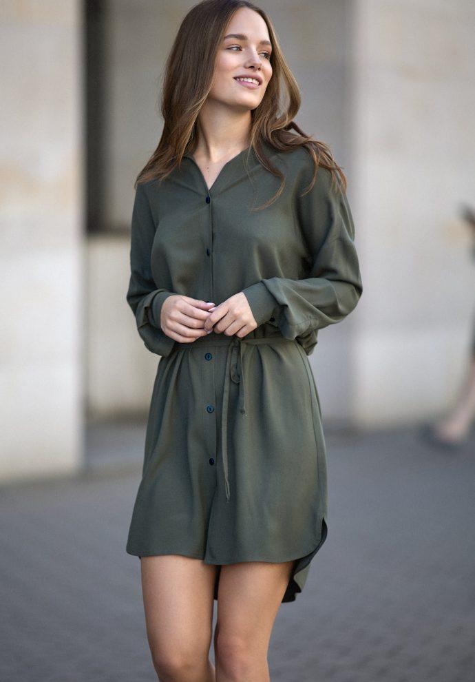 Sukienka na guziki Lisa oliwkowa