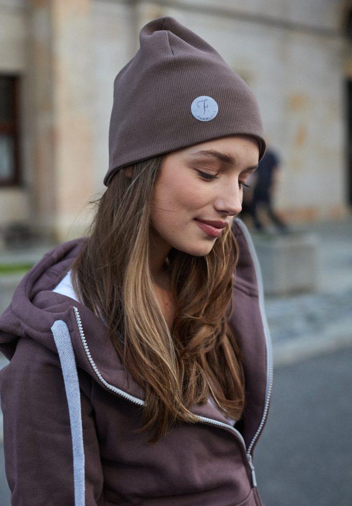 czapka dwustronna lila- cappucino- zdjęcie 2