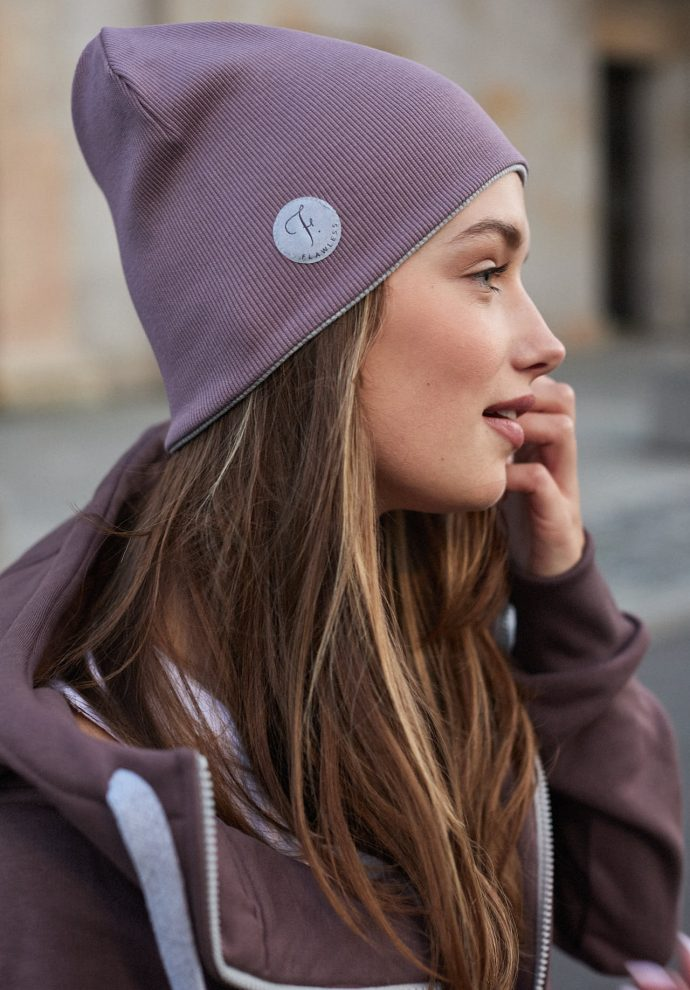 czapka dwustronna fiolet- jasno szary