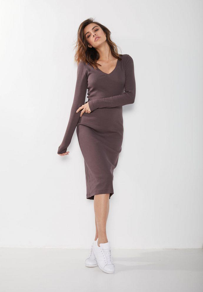 ściągaczowa sukienka sara czekoladowa