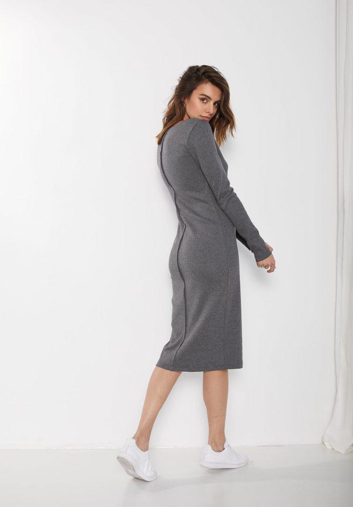 ściągaczowa sukienka sara ciemno szara w serek zdjęcie 2