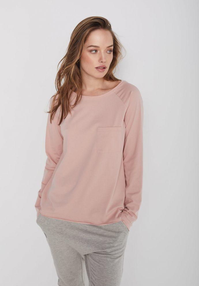 bawełniana bluzka Ramia jasno różowa