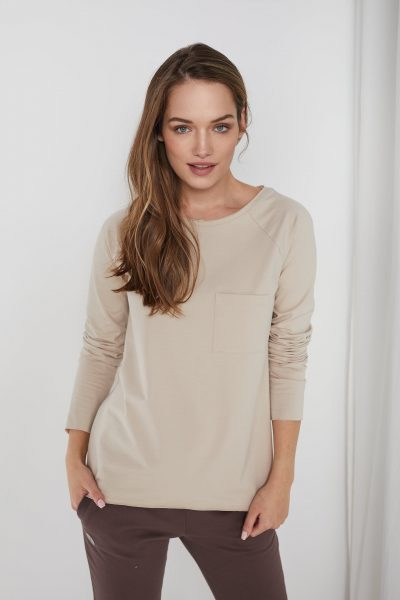 bawełniana bluzka Ramia piaskowa